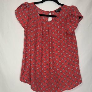 Papermoon For Stitch Fix Red Short Sleeve Blouse